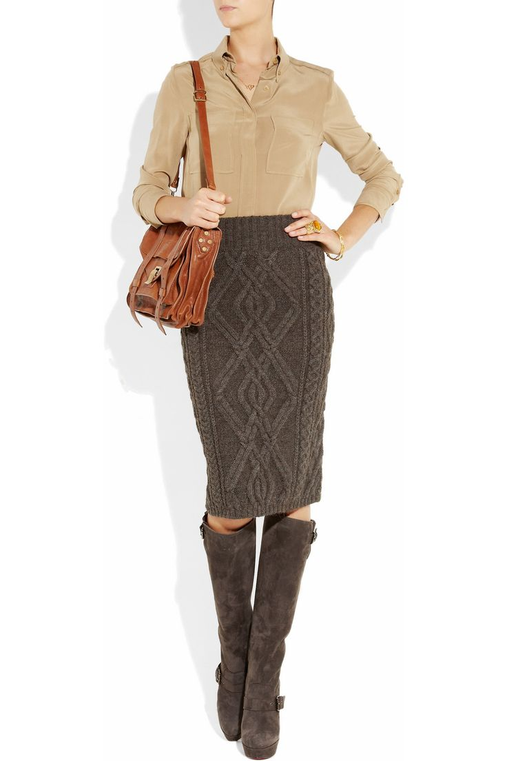 Chloe' Cable-knit merino wool-blend skirt $895 Complete with Louboutin boots