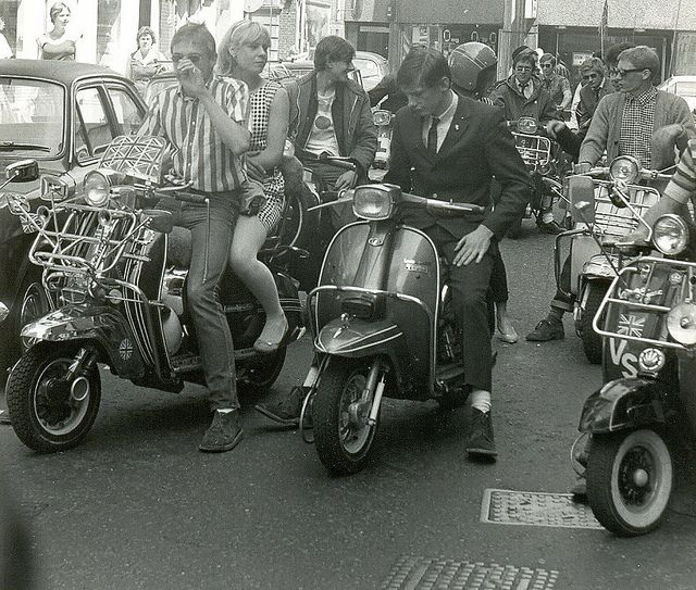 Mods on scooters in the Carnaby Street area of London filming 'Steppin' Out' (I), photo by Paul Wright summer 1979
