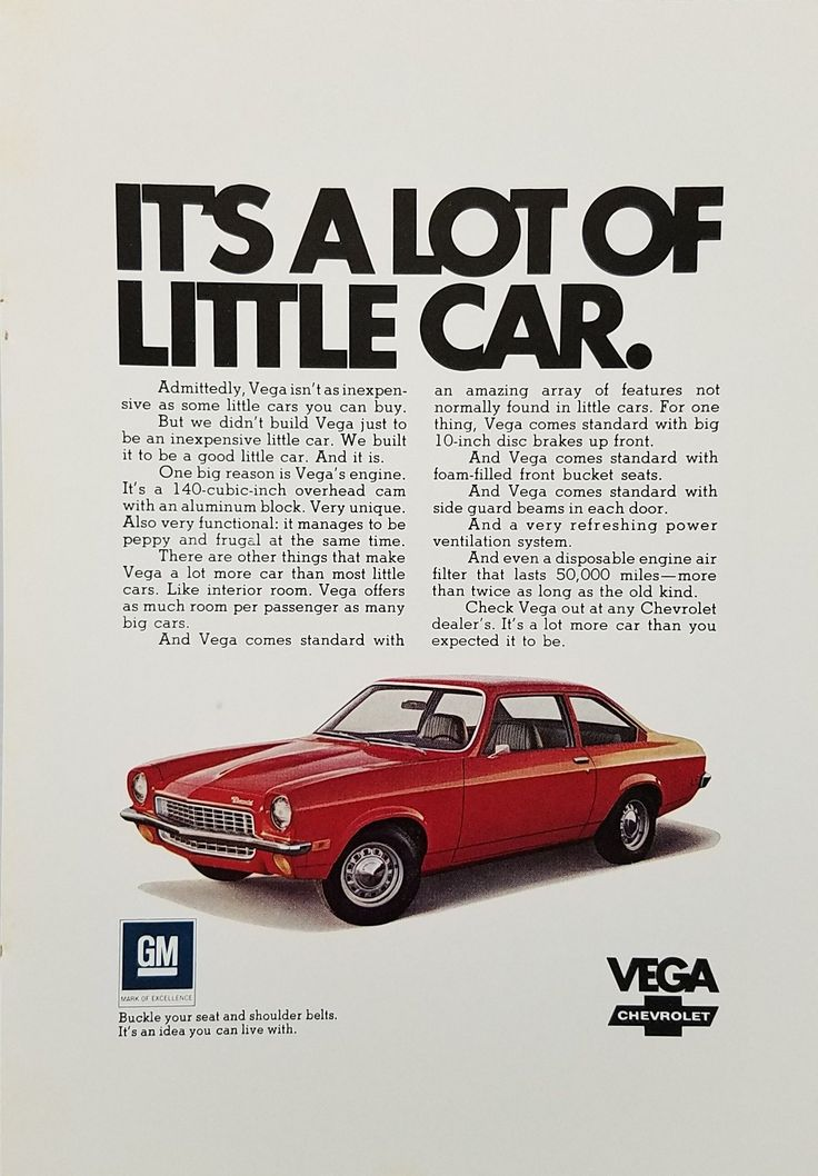 1970's Red Chevrolet Vega Automobile Vintage Ad