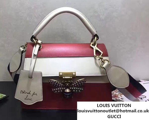 9c6d2d09a6b Gucci Queen Margaret Leather Metal Bee Detail Top Handle Bag 476541  Red White 2017