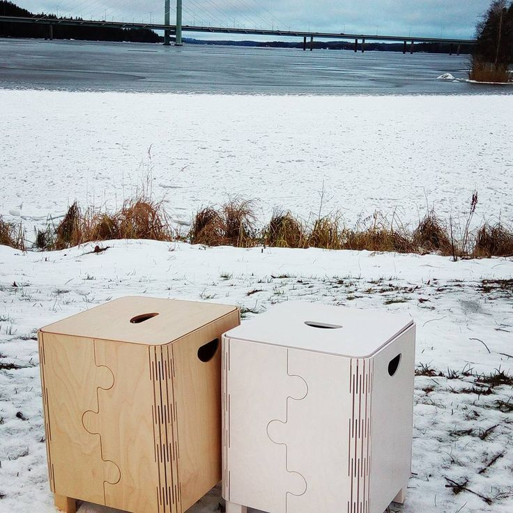 Pure natural design beauty. Heinola during winter on the background. Timeless, Seat, Storage. Contact us at: Info@kliks.fi.
