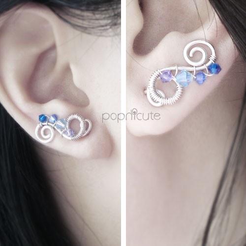 ONE Blue Argentium Silver Ear Pin for Pierced and Non Pierced Ears   popnicute - Jewelry on ArtFire