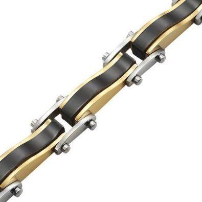 R&B Bijoux - Bracelet Homme - Gourmette Liens Style Vagues - Acier Inoxydable 316L (Or, Argent, Noir). 23,90€ #gourmette #bracelet #homme #acier #noir #or #argent #cadeau #fetedesperes