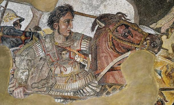"""Alexander fighting king Darius III of Persia"", Alexander Mosaic, Naples National Archaeological Museum."