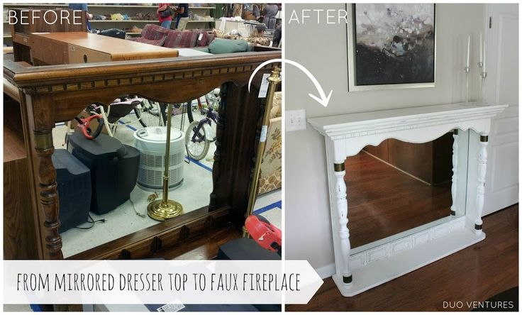 Turn a dated mirrored dresser top into a faux fireplace!