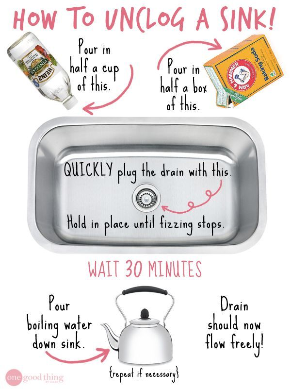 Have a stubborn, slow moving drain? How To Unclog A Sink Without Chemicals via One Good Thing by Jillee