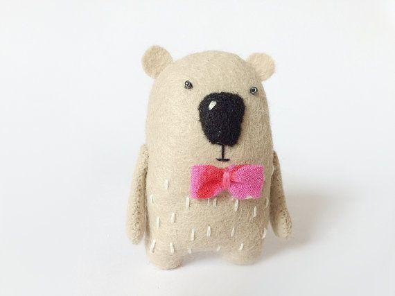 Tiny Felt Bear With A Pink Bow, Felted Bear, Felted Miniature Animals, Felt Animals