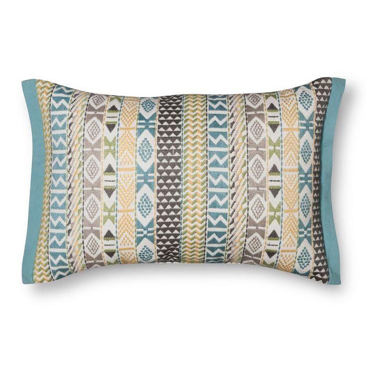 Threshold� Embroidered Southwestern Stripes Lumbar Pillow - Aqua