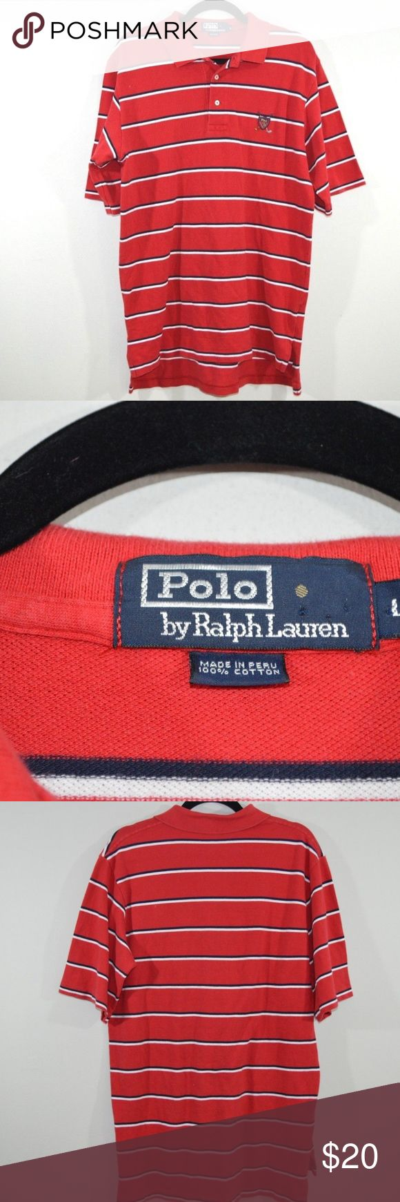 Polo by Ralph Lauren Golf Crest Polo Shirt Large Polo by Ralph Lauren Golf Crest Logo  Excellent shirt  Comes from a smoke-free household  Size is Large and the measurements are 21 inches pit to pit and 32 inches shoulder to base.  Red and White striped with a Golf Crest logo  Cotton   Check out my other items for sale in my store!  MX Polo by Ralph Lauren Shirts Polos