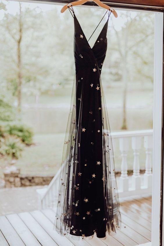 Schwarzes Tüllgoldstern-Hochzeitskleid. Mode Abendkleid von MeetBeauty, 168,02 US-Dollar …   – Actual Attire