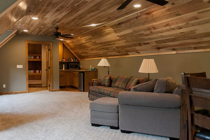 Hickory Ceiling Bonus Room. Kid Room above Garage in a Cabin or Lake Home,