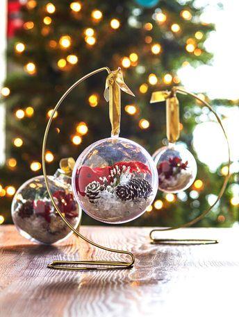 Traditional Snowy Scene Clear Plastic Ornament