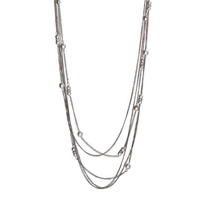Steelx stainless steel multi strand necklace with faux pearls and crystal accents - $90.00 #PoagWishList