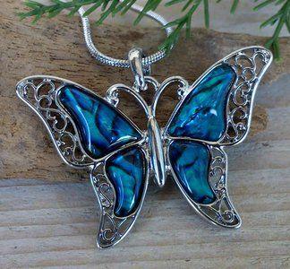 vlinder ketting hanger blauw 302