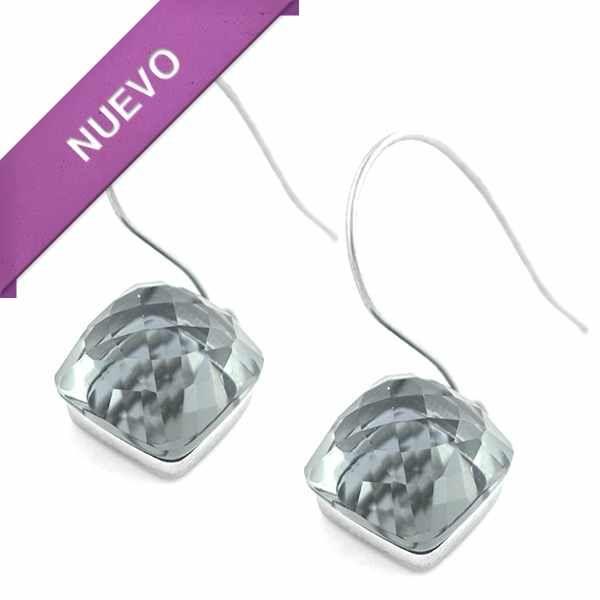 Joyas de Acero-Aros-EA0798G. Aro acero con cristal facetado, largo 3 cm
