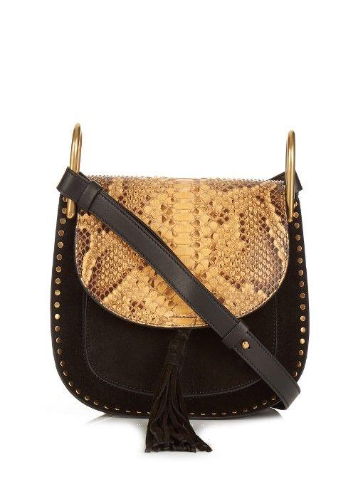 Chloé Hudson small python and suede cross-body bag