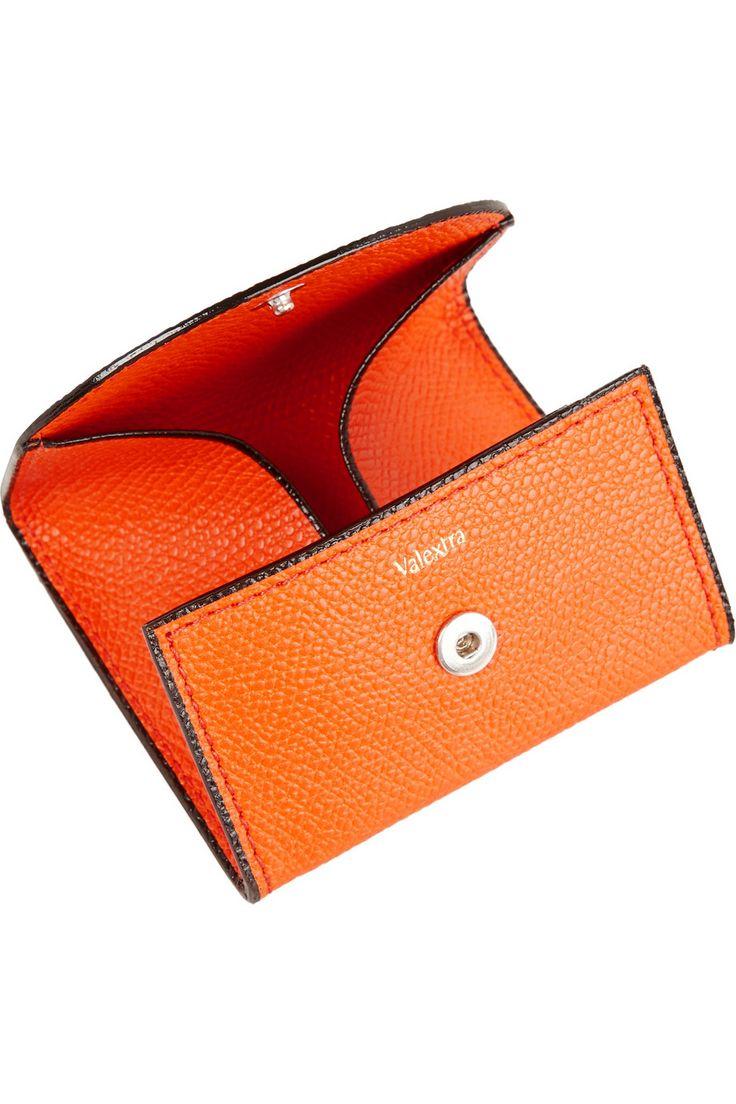 Bright-orange textured-leather (Calf) Snap fastening at top Designer color: Lobster Orange