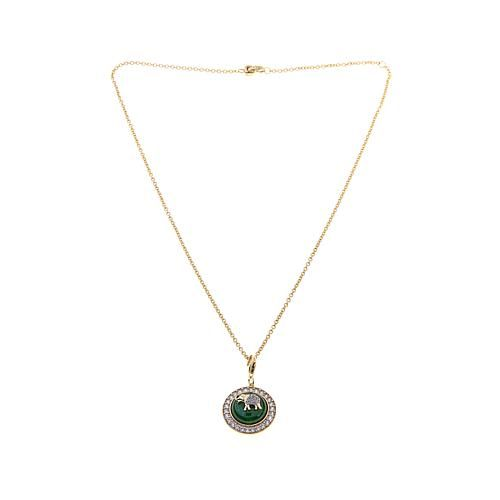 "Fine Jewels by Emily & Ashley Green Jade and White Zircon Elephant Design Goldtone Pendant with 18"" Chain"