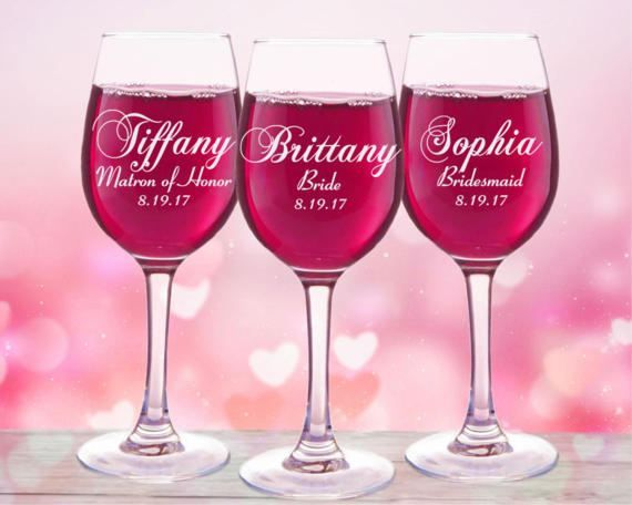 5 Personalized Bridal Party Wine Glasses  Set of 5  Bridal