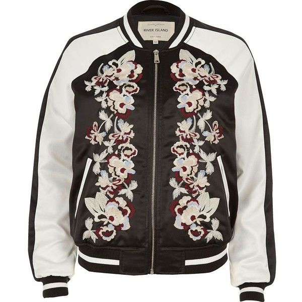 River Island Black embroidered bomber jacket found on Polyvore featuring outerwear, jackets, coats, coats & jackets, jumpers, flight jacket, embroidered bomber jacket, satin jackets, bomber jacket and blouson jacket