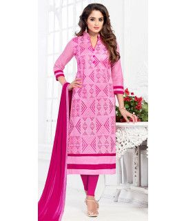 Dashing Pink Cotton Salwar Suit.