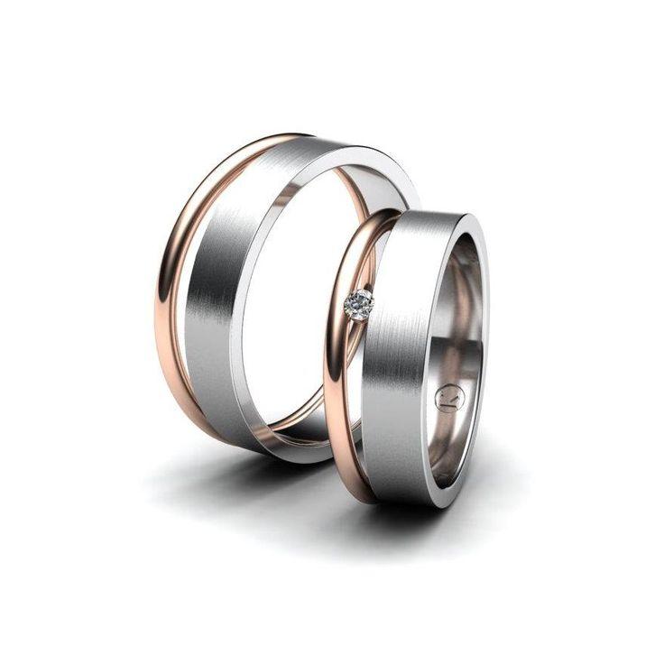Snubní prsteny v kombinaci bílé/červené zlato. Dámský prsten je osazen jedním menším kamenem, pánský prsten je bez kamene. Planujete letos někdo svadbu ?