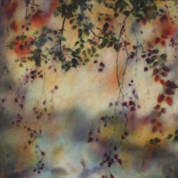 "Joyce Gehl/ ""Land Fall""/ 36 x36. encaustic art."