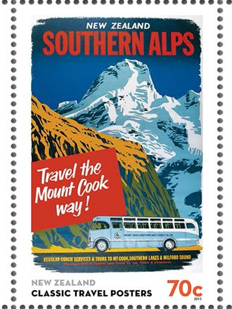 southern alps travel poster stamp