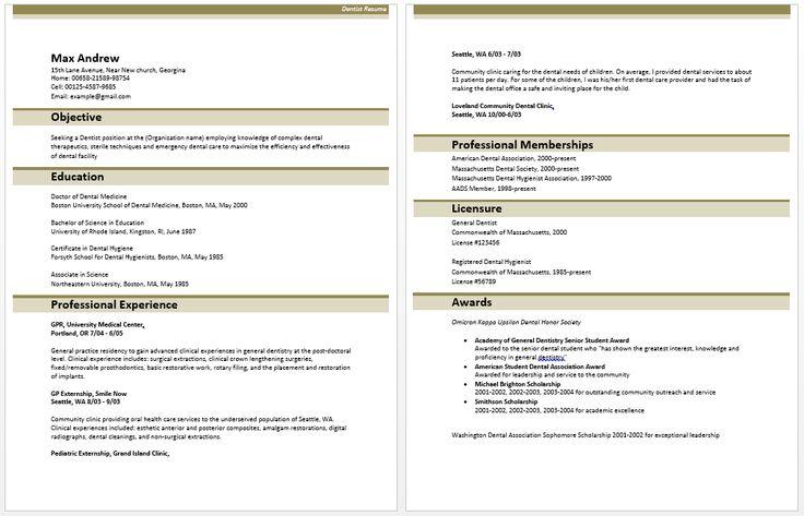 dental resume samples: dentist resume