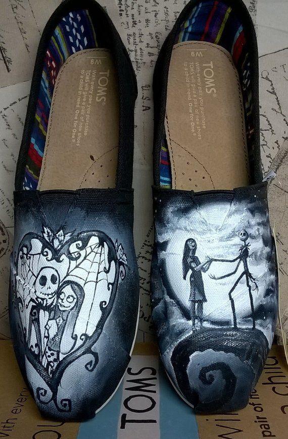 919de04d2e044 Nightmare before Christmas hand painted Converse shoes, wedding ...