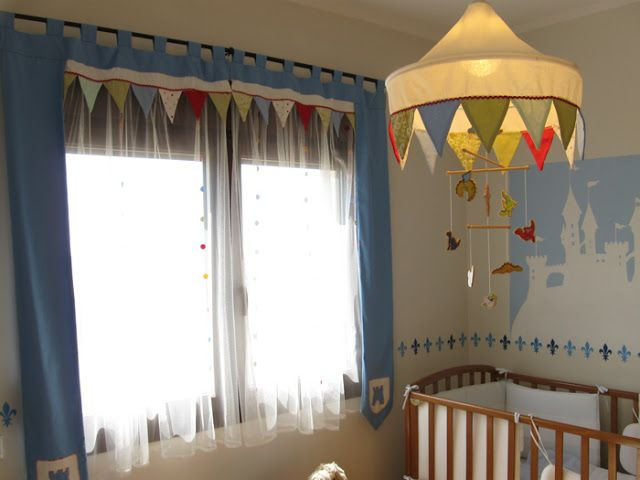 I love this medieval-themed nursery! It could certainly grow with a young boy fo…