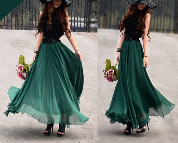 women's Jade green silk Chiffon 8 meters of by colorstore2011, $35.99