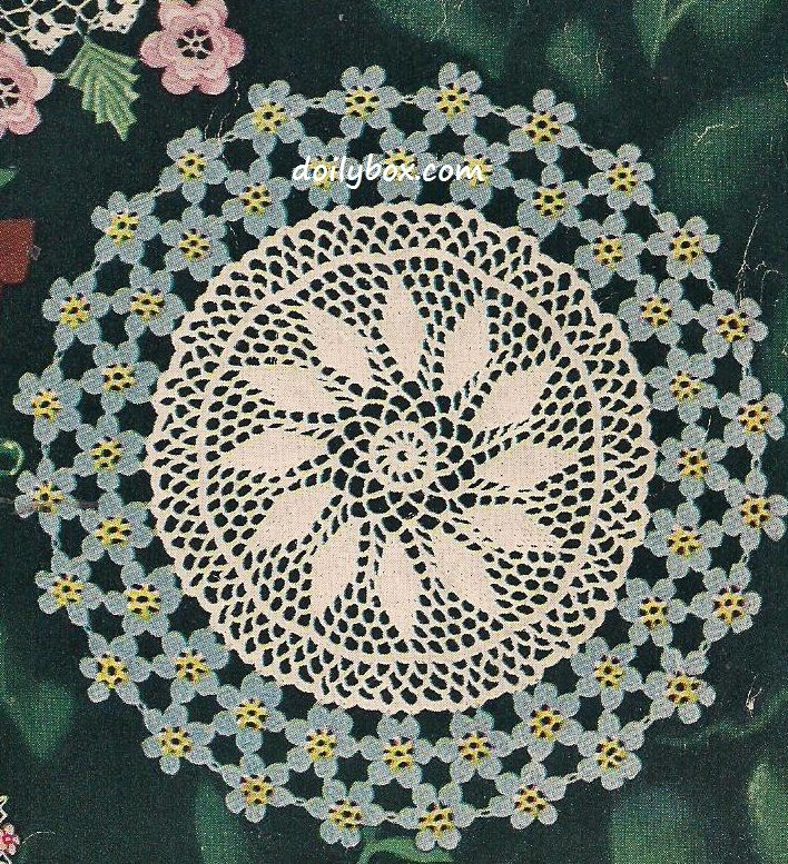 14 Inch Written Free Vintage Crochet Forget Me Not Floral Doily