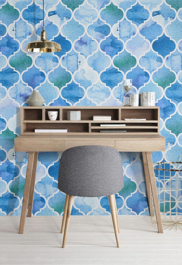 Tapeten mit marokkanischen Muster in Blautönen / wallpaper moroccan style with different shades of blue made by coloray via DaWanda.com