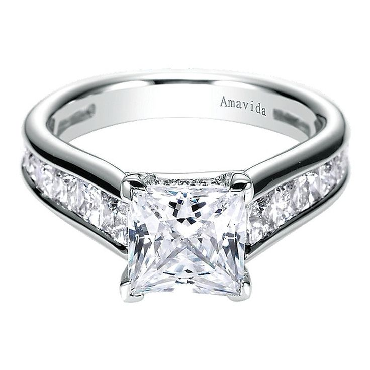 Princess Cut Engagement Ring with Channel Set Band by Gabriel & Co. #ER6151W84JJ. This 18K White Gold Ring can accomodate .50ct-3ct center stone, not included.