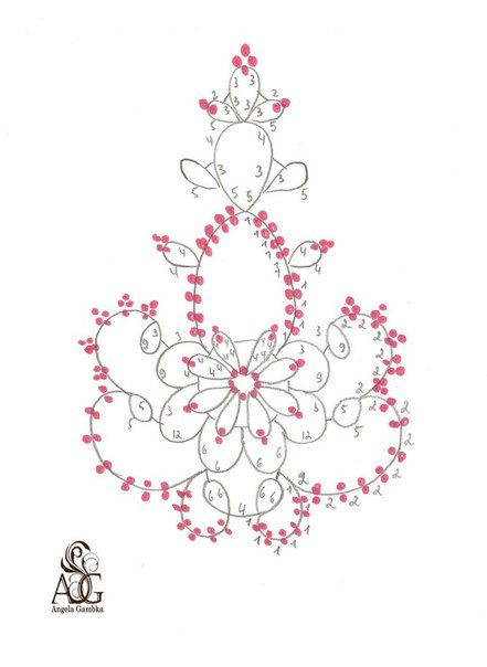 Фриволите (Для начинающих) Diagram for Tatting with beads by Angela Gambka #tatting #lace #jewelry