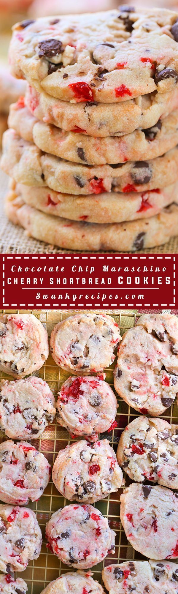 Soft shortbread cookies stuffed with chocolate chips and maraschino cherries. These cookies are hit for the holidays and make a large batch.