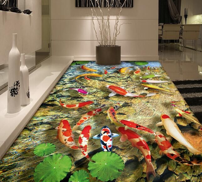 Cheap wall paper, Buy Quality vinyl waterproof wallpaper directly from China floor 3d wallpaper Suppliers: PVC Flooring Roll Floor 3D Wallpaper fish Lotus Landscape Mural 3d Vinyl Waterproof Wallpapers Self-adhesive Picture Wall Paper