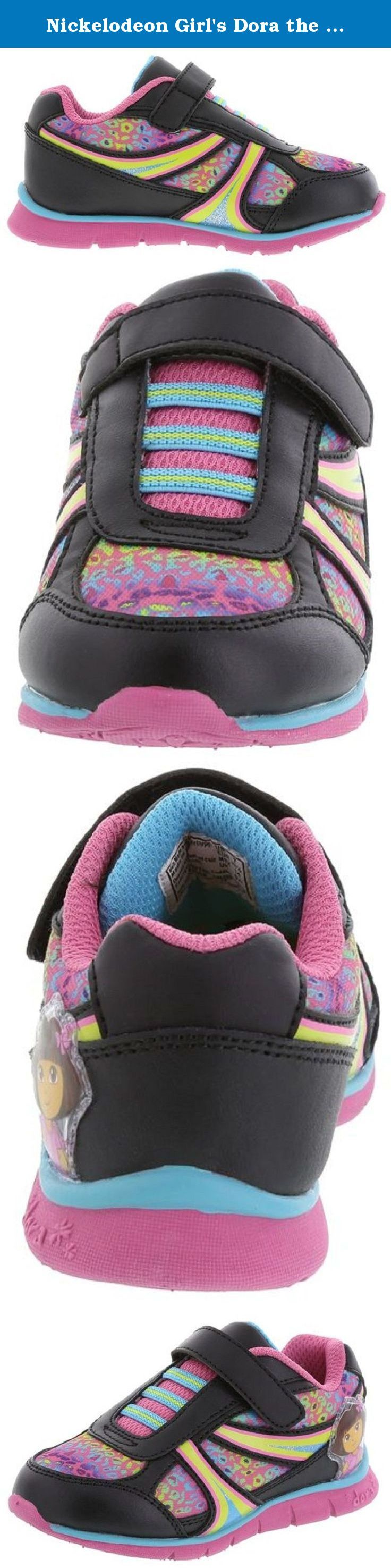 Nickelodeon Girl's Dora the Explorer Lightweight Shoes. Dora makes playtime more fun with this bright runner! It features a combination upper with colorful accents, stretchy laces, strap with hook and loop closure, padded tongue and collar, mesh lining, padded insole, and a non-marking, skid-resistant outsole. Action leather and manmade materials.