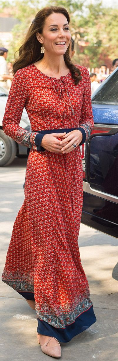 Who made  Kate Middleton's print long sleeve dress and nude shoes?