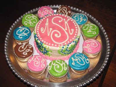 Monogram: Sweet Treats, Monograms Cupcakes, Birthday Cupcakes, Monograms Cakes, Parties Ideas, Cups Cakes, Cupcakes Rosa-Choqu, Cupcakes Cak Pop, Birthday Cakes