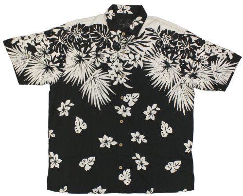Tommy Bahama Mens Silk Floral Camp Shirt (Black) (X-Large)