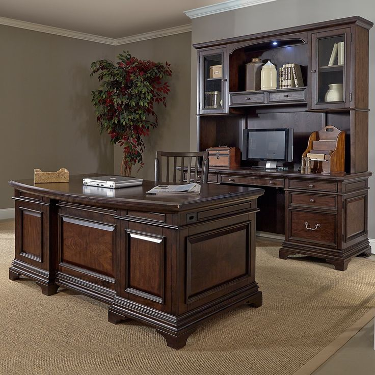 Warm Cherry Executive Desk Home Office Collection: Drake 72-inch Executive Desk And Credenza With Hutch By