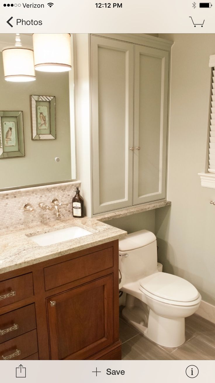 Toilet on pinterest corner bathroom sinks corner sink bathroom - Cabinet Over Toilet For Small Bathroom