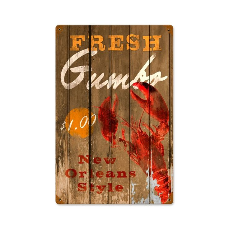 Retro Fresh Gumbo Metal Sign 12 X 18 Inches