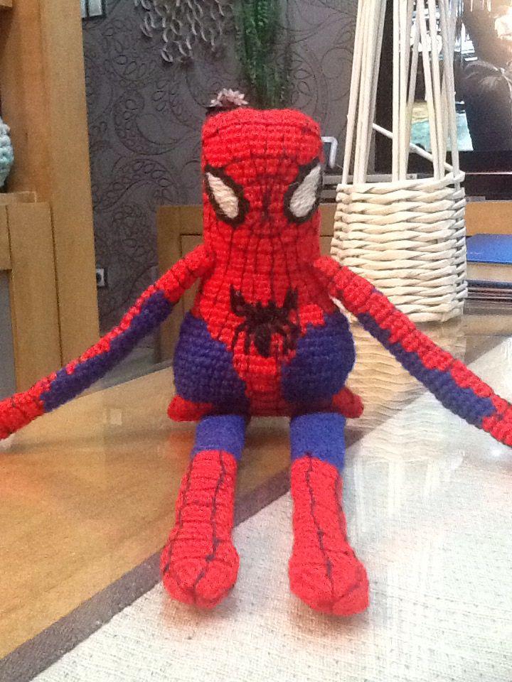 """a malý """"spajdik"""" je hotový... for my grandchild crochet spiderman #handmade  #crochetspiderman  #crochetdoll   made by me / mojimi rukami"""
