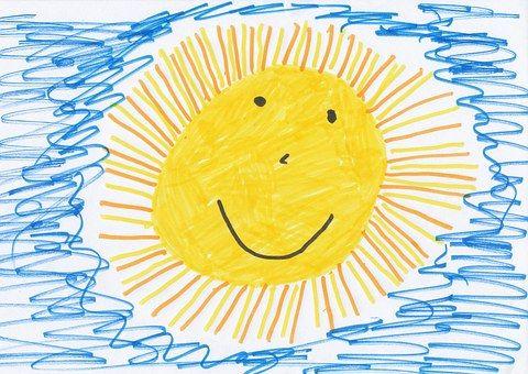 Sun, Enfants Dessin, Image, Dessin