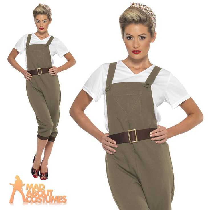 1940 s Land Girl Costume Ladies WW2 Munitions Fancy Dress Army Outfit UK 8-18