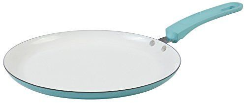 Feature: - Flat pan: ideal for preparing traditional crepes, tortillas, and pancakes (smooth cooking surface helps batter spread thinly and heat evenly) - Quality ceramic non-stick coating crepe pan i