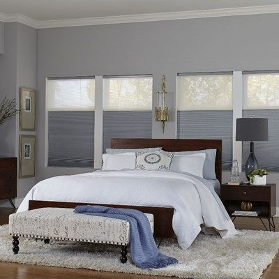 Blackout shades are ideal for bedrooms and the Day Night option allows for even more light control and privacy. Shown in the pattern Lagoon with Day Night material in Breeze.